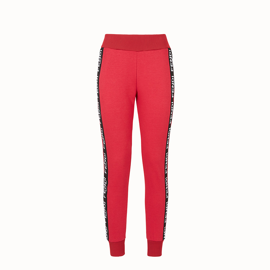 FENDI TROUSERS - Pink fabric jogging trousers - view 1 detail