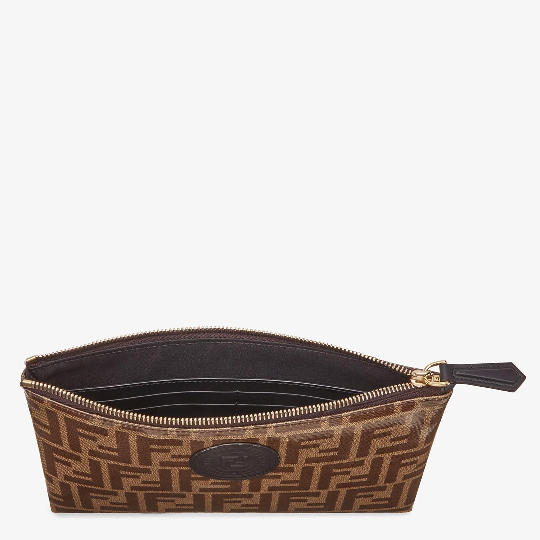 FENDI MEDIUM FLAT POUCH - Brown fabric pouch - view 3 detail