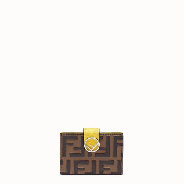 FENDI CARD HOLDER - Brown leather gusseted card holder - view 1 small thumbnail