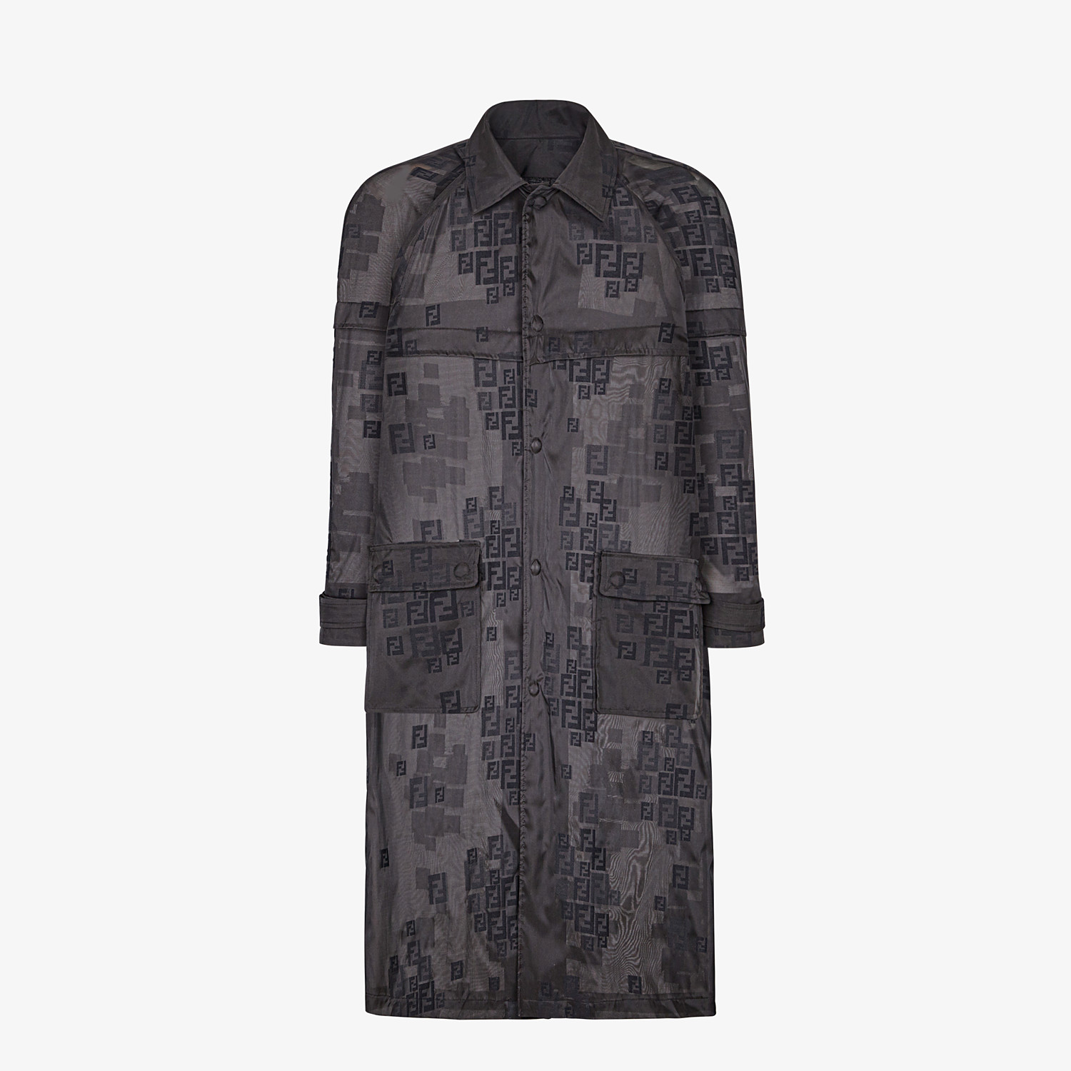 FENDI PARKA - Black organza trench coat - view 4 detail