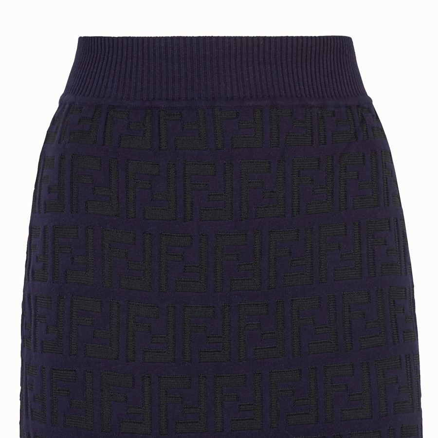 FENDI SKIRT - Blue cotton skirt - view 3 detail