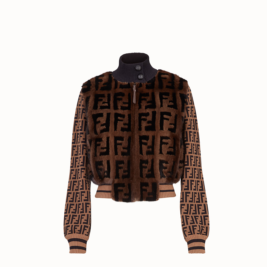 FENDI BOMBER - Inlaid mink and knitted fabric bomber - view 1 detail