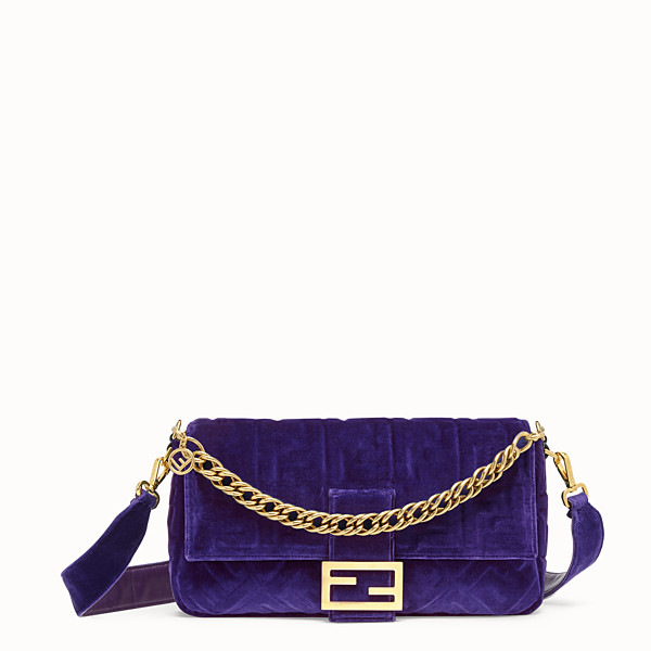 FENDI BAGUETTE LARGE - Purple velvet bag - view 1 small thumbnail