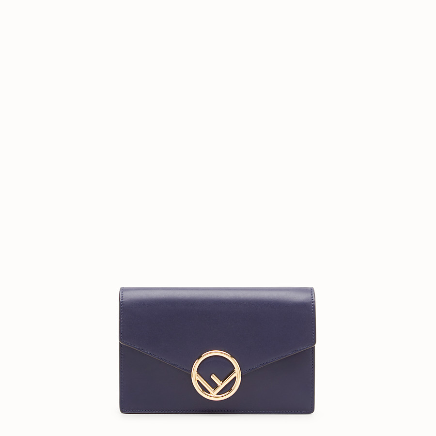 FENDI WALLET ON CHAIN - Blue leather mini-bag - view 1 detail