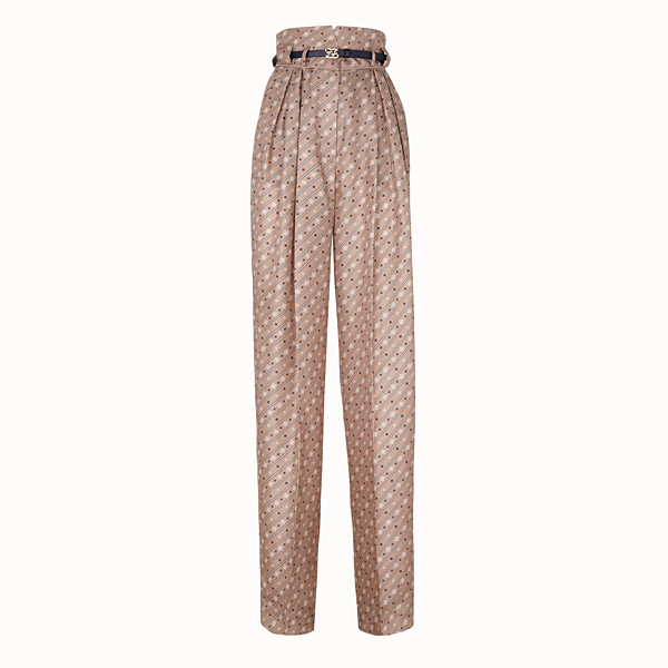 FENDI TROUSERS - Beige silk trousers - view 1 small thumbnail
