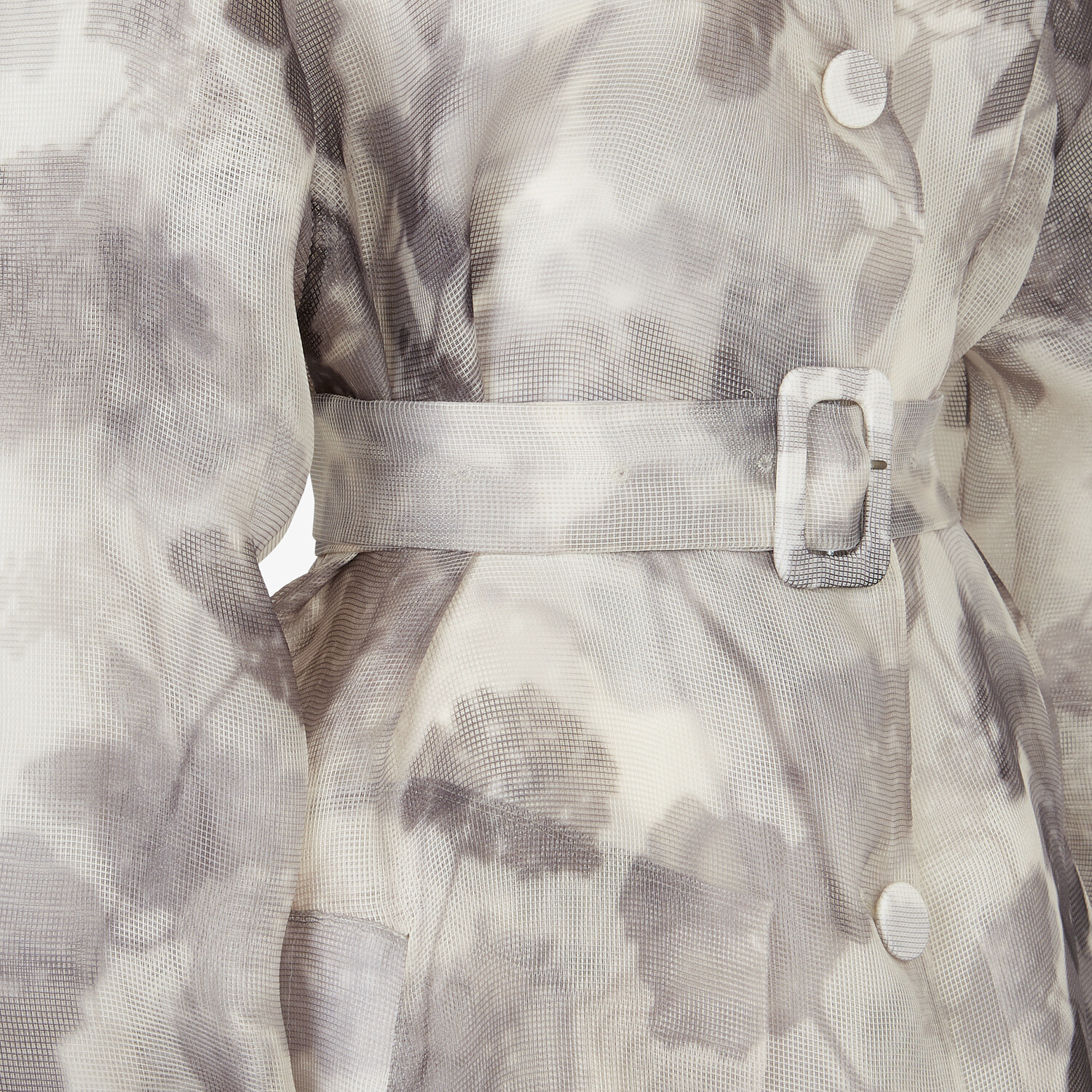 FENDI OVERCOAT - gray organza trench coat - view 3 detail