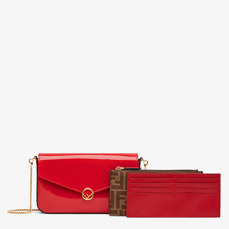 FENDI WALLET ON CHAIN WITH POUCHES - Mini bag in red patent leather - view 2 detail