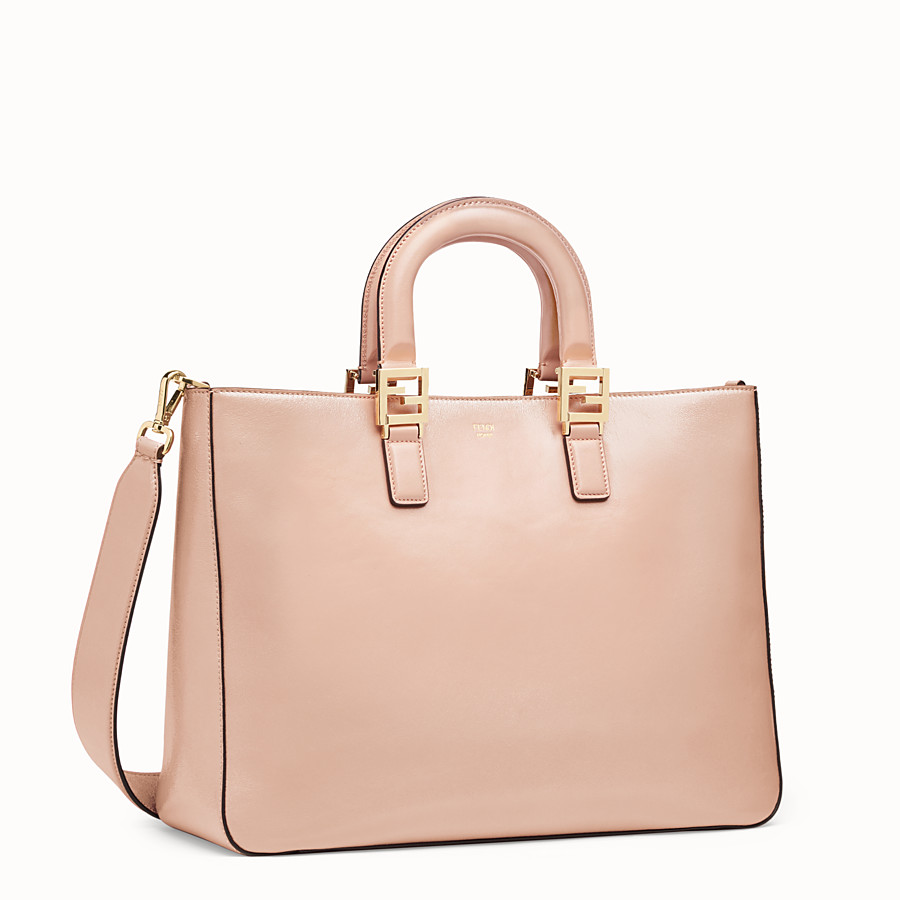 FENDI FF TOTE MEDIUM - Pink leather bag - view 3 detail