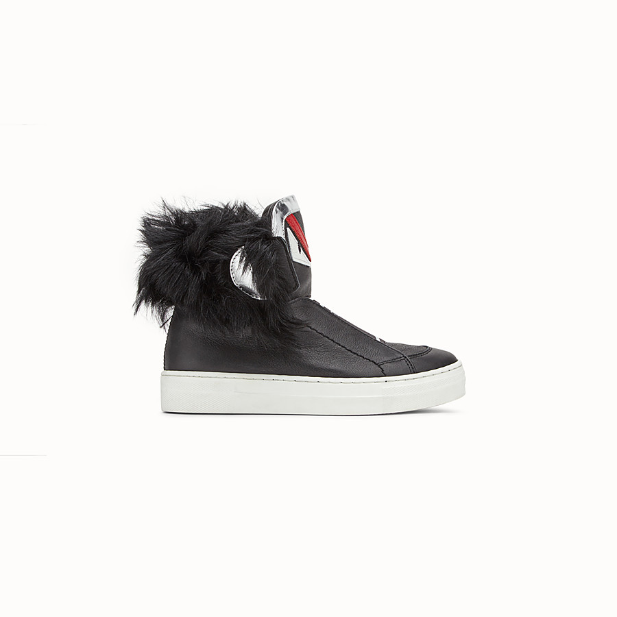 FENDI SHOES - Junior boy's black and silver nappa sneakers - view 1 detail
