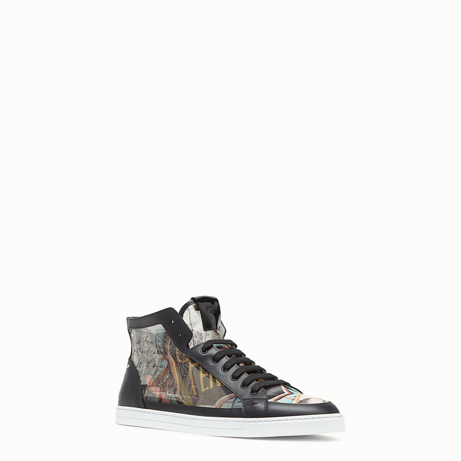FENDI SNEAKERS - Chaussures montantes en filet multicolore - view 2 detail