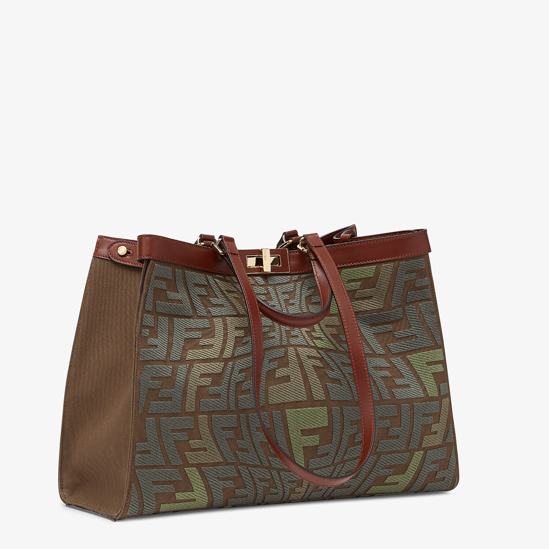 FENDI PEEKABOO X-TOTE - Embroidered green canvas bag - view 3 detail