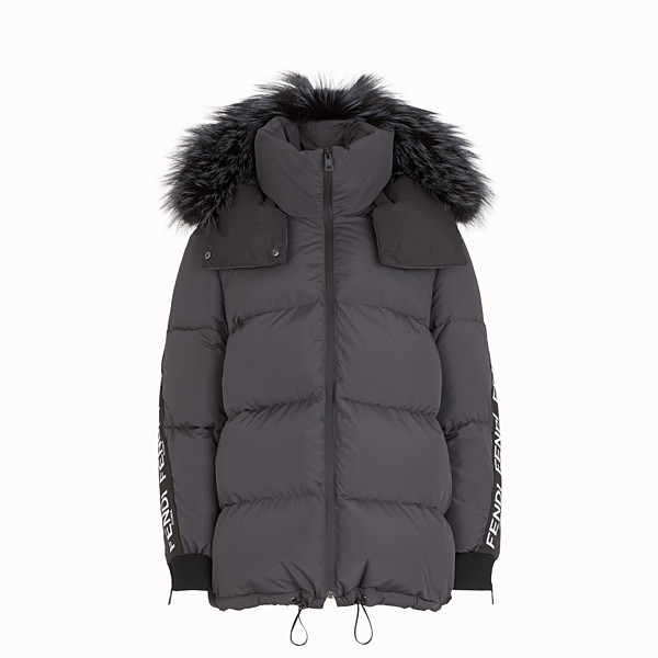 FENDI JACKET - Black nylon down jacket - view 1 small thumbnail