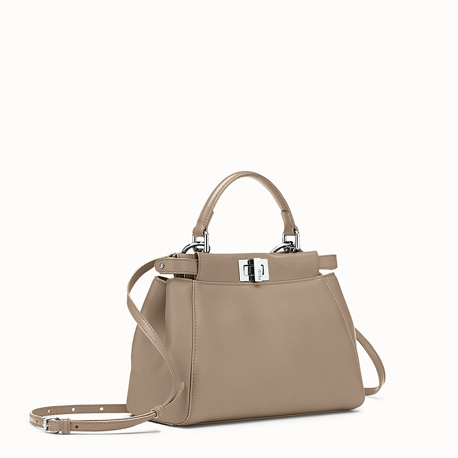 FENDI PEEKABOO ICONIC MINI - Handbag in dove gray nappa - view 2 detail