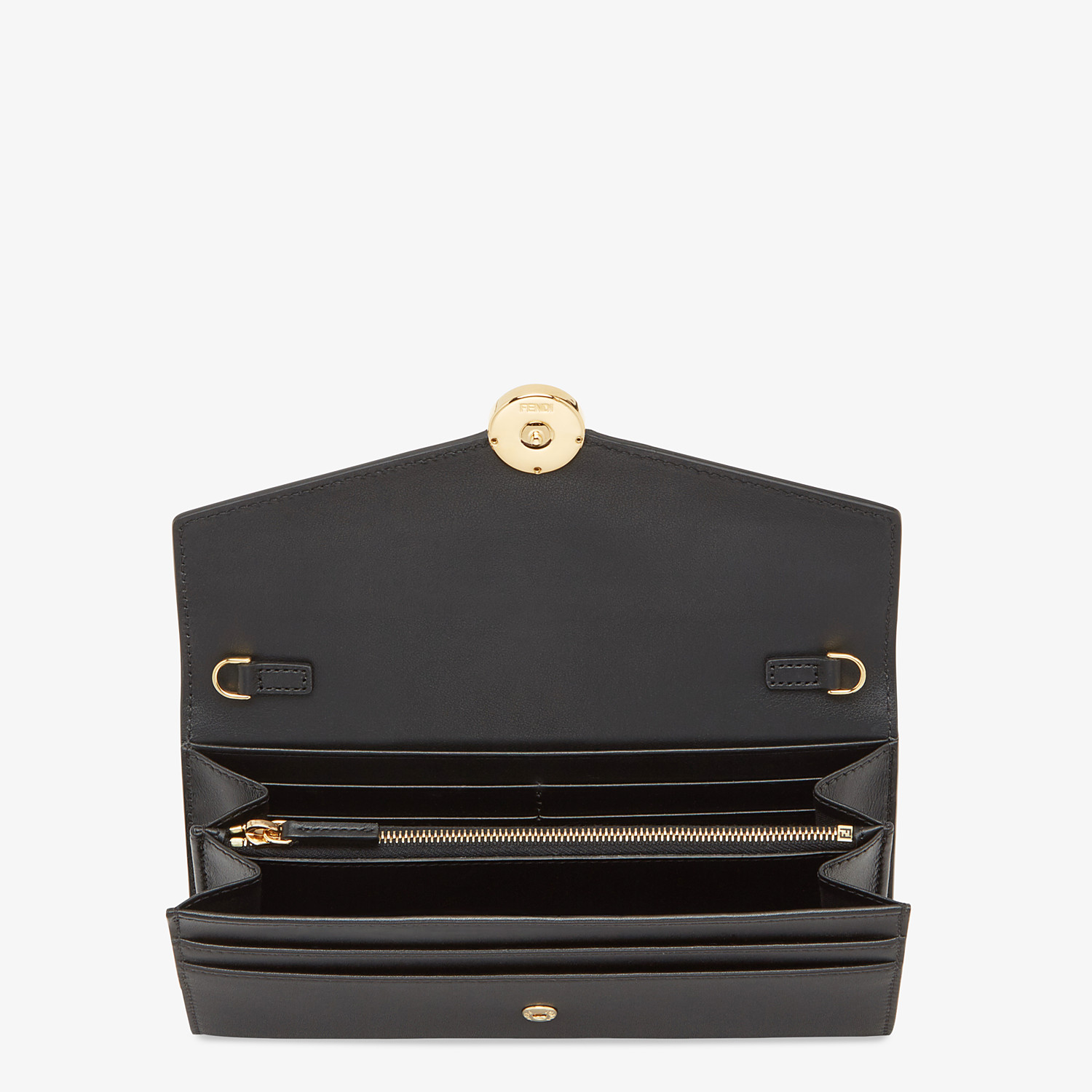 FENDI CONTINENTAL WITH CHAIN - Black leather wallet - view 4 detail