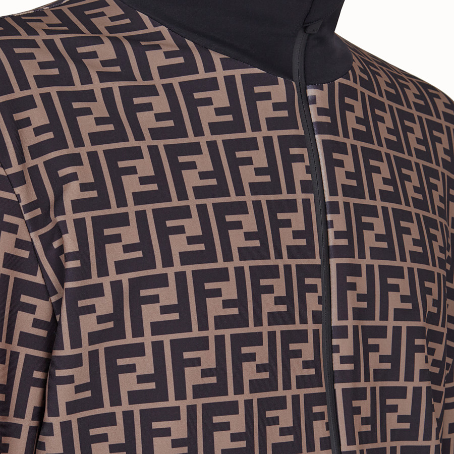 FENDI TECH FABRIC SWEATER - Brown fleece sweater - view 3 detail