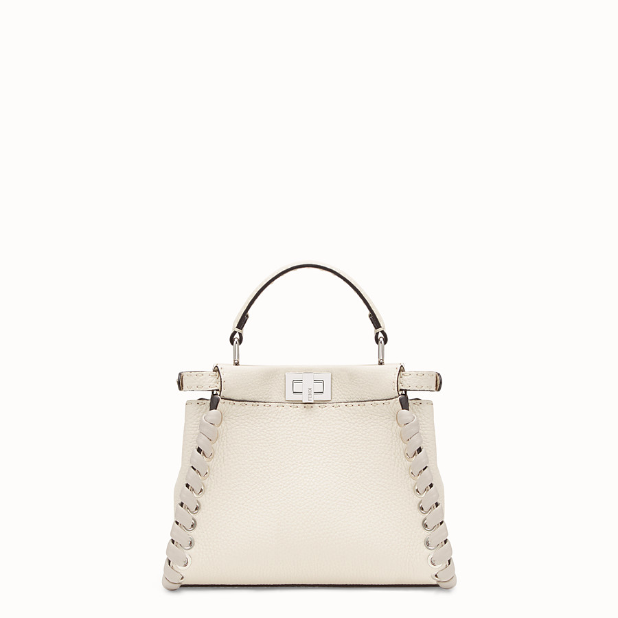 FENDI PEEKABOO MINI - White leather bag - view 3 detail