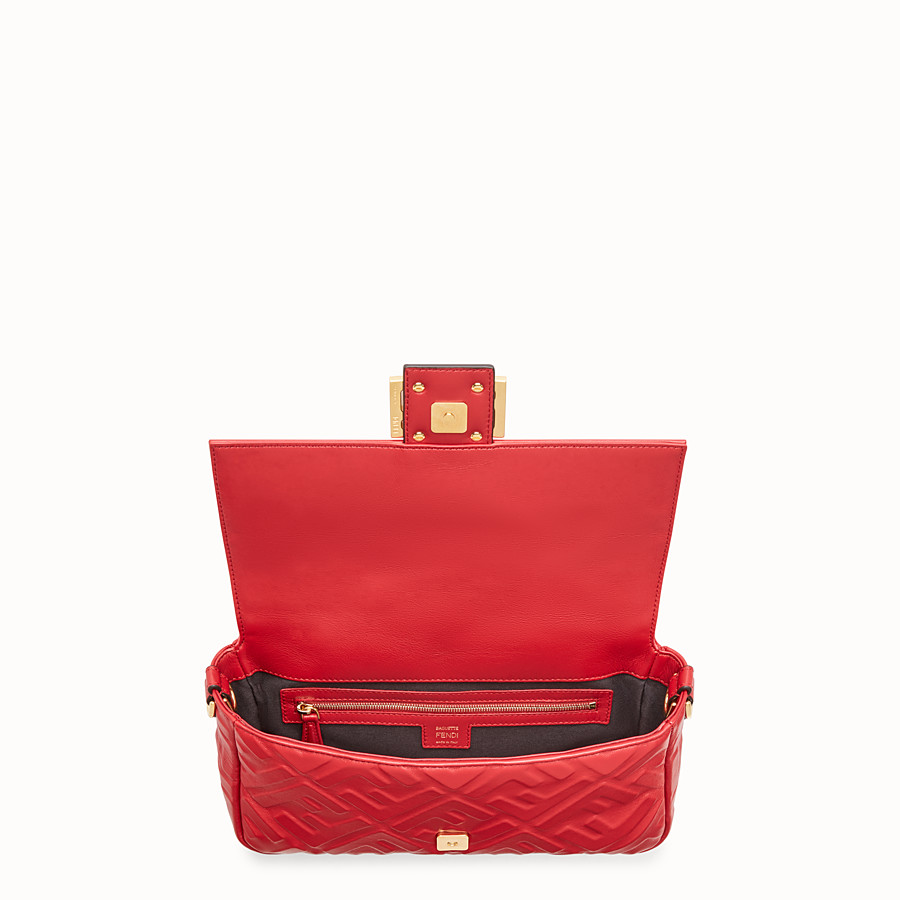 FENDI BAGUETTE - Red leather bag - view 5 detail