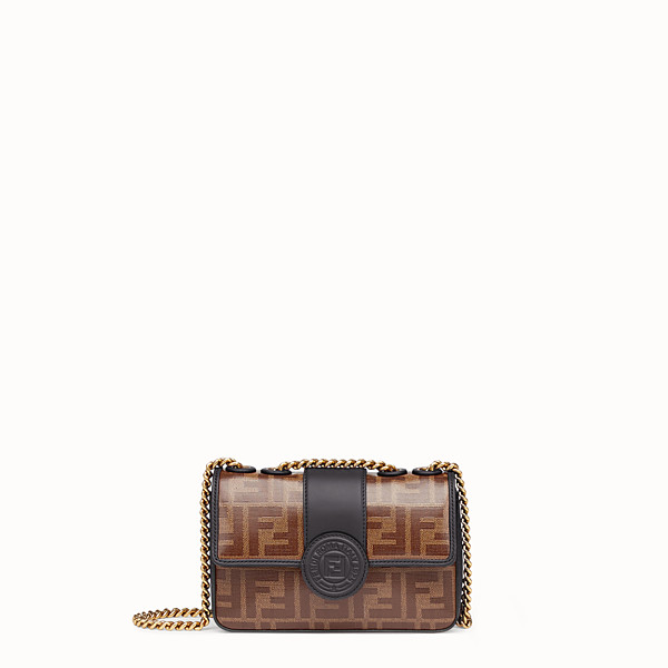 FENDI MINI DOUBLE F - Brown canvas bag - view 1 small thumbnail