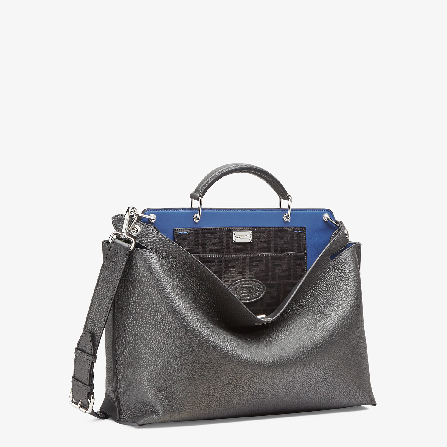 FENDI PEEKABOO ICONIC ESSENTIAL - Gray leather bag - view 2 detail