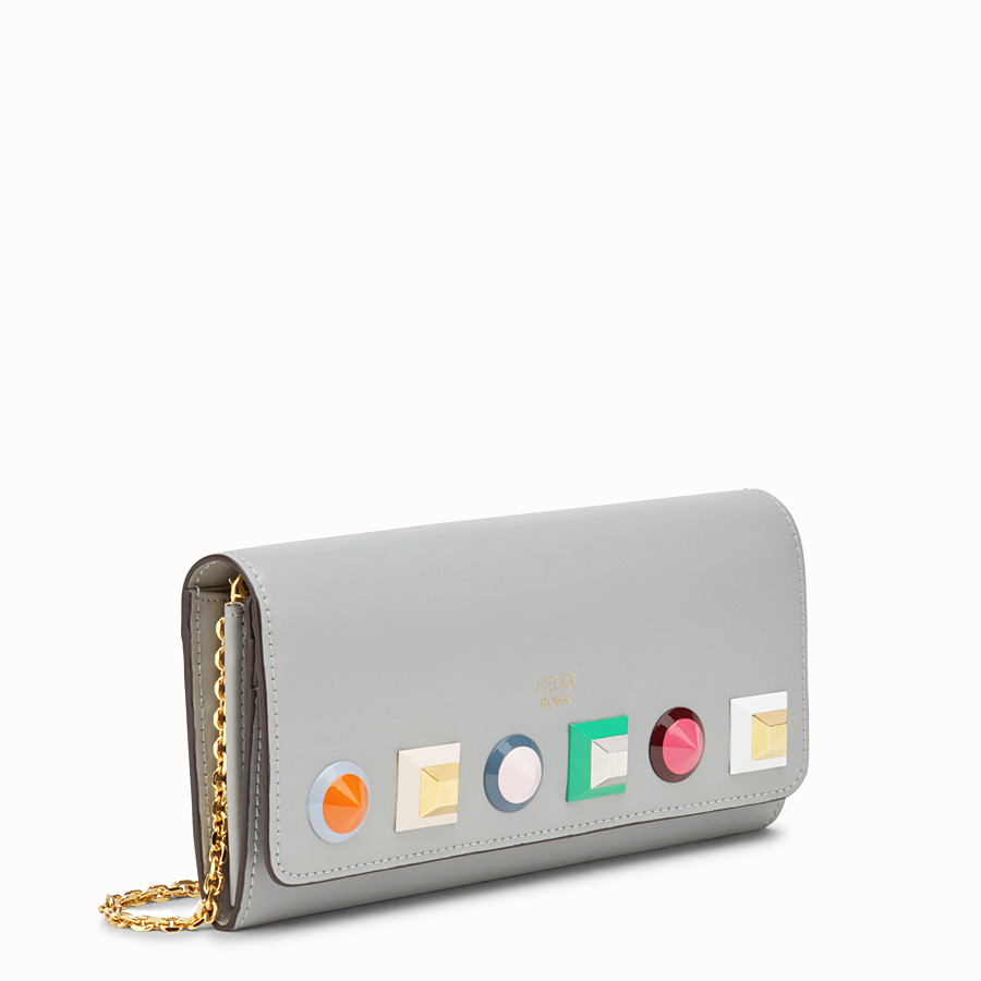 FENDI CONTINENTAL WITH CHAIN - Grey leather wallet - view 2 detail