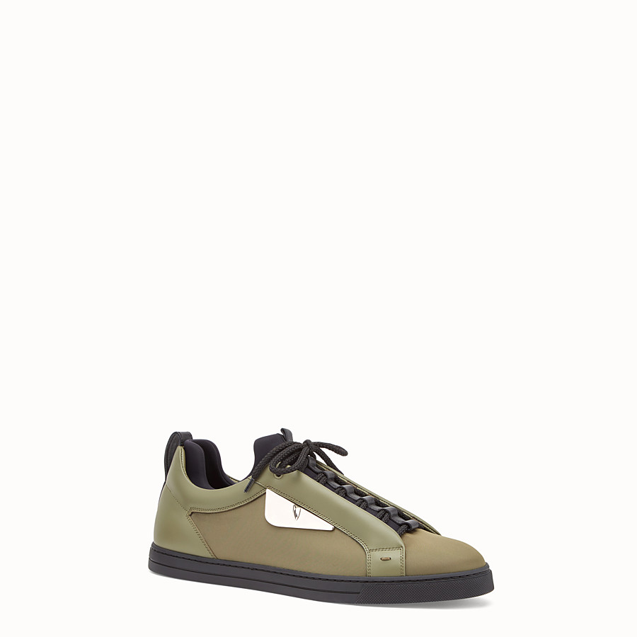 FENDI SNEAKER - Green leather and nylon lace-ups - view 2 detail