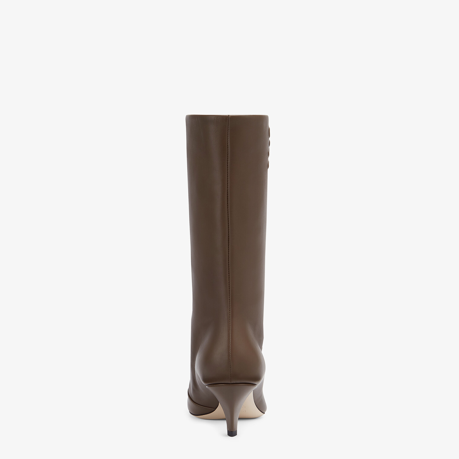 FENDI KARLIGRAPHY - Brown leather boots with medium heel - view 3 detail