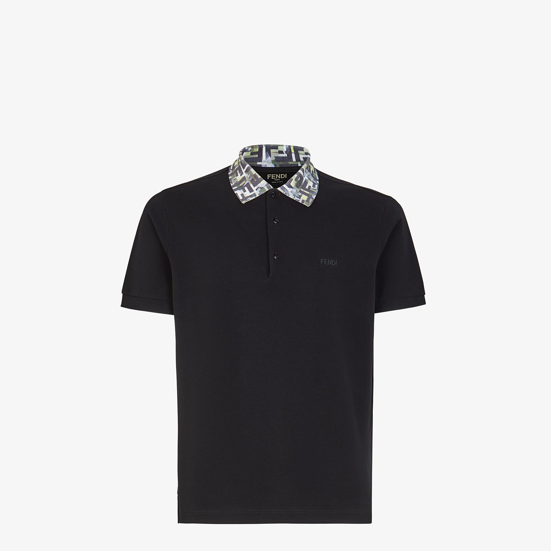 FENDI T-SHIRT - Black cotton polo shirt - view 1 detail