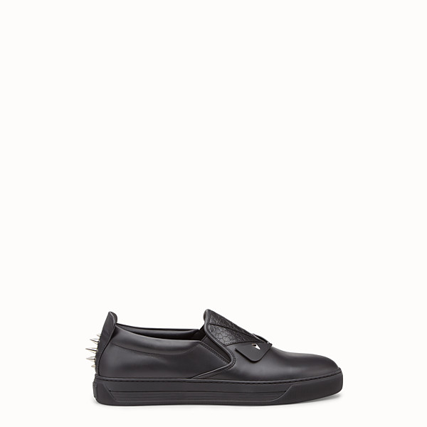 FENDI SNEAKER - Slip-ons in elaphe and black leather - view 1 small thumbnail