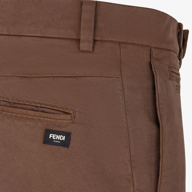 FENDI PANTS - Brown cotton pants - view 3 detail