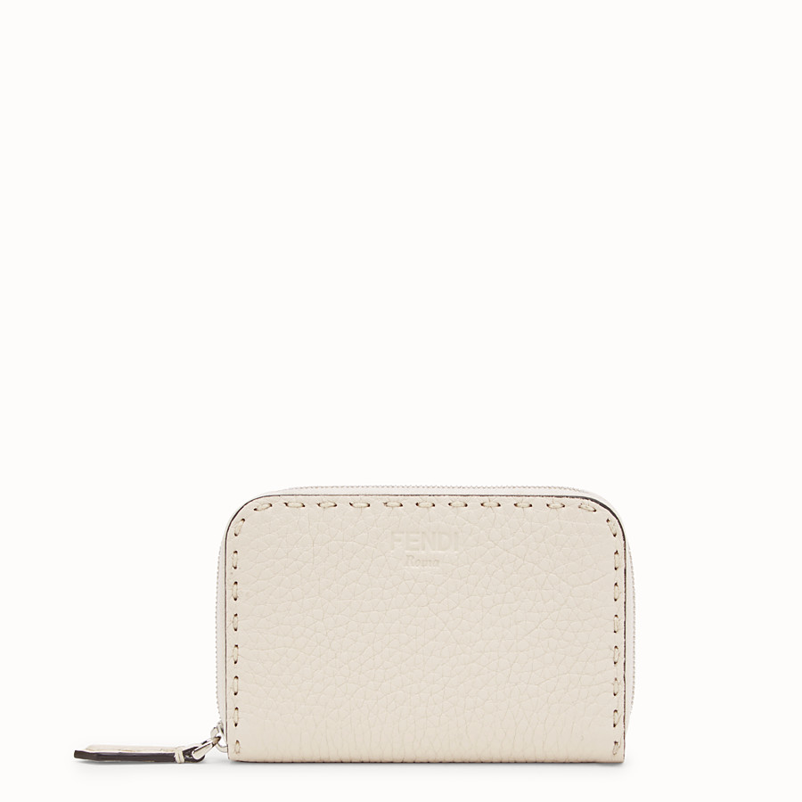 FENDI SMALL ZIP-AROUND - White leather wallet - view 1 detail