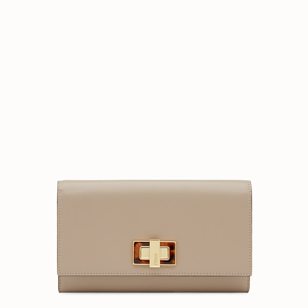 FENDI PEEKABOO WALLET - Continental wallet in dove-gray leather - view 1 small thumbnail