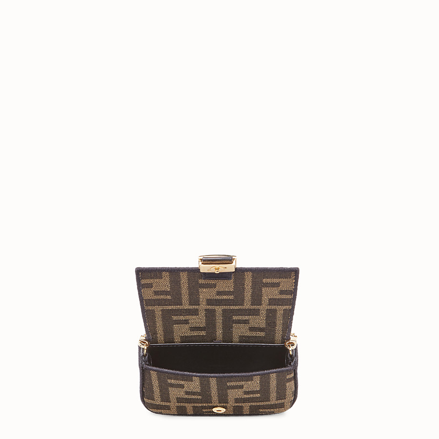 FENDI NANO BAGUETTE CHARM - Brown fabric charm - view 5 detail