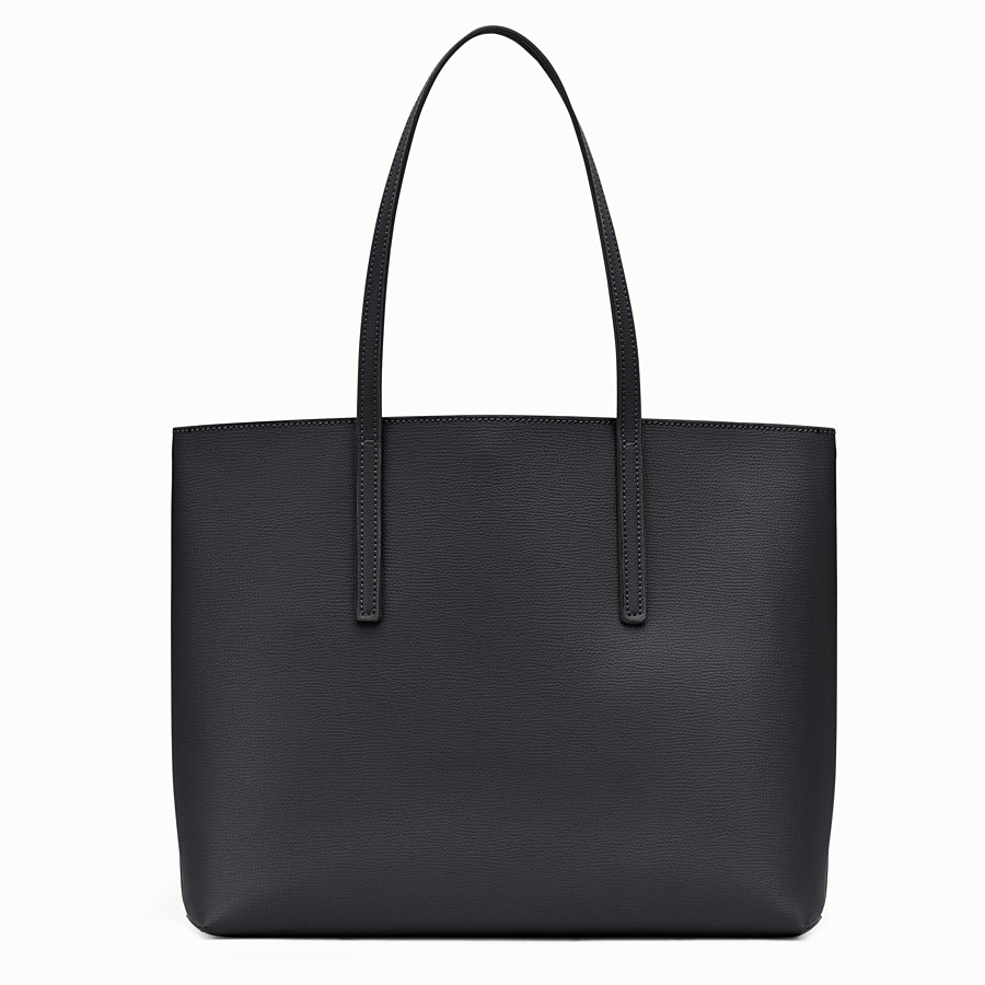 FENDI SHOPPING LOGO - Black leather shopper bag - view 3 detail