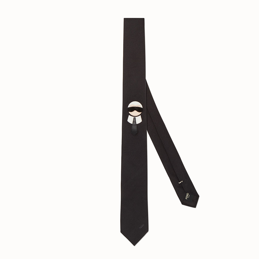 FENDI TIE - in embroidered black silk twill - view 1 detail