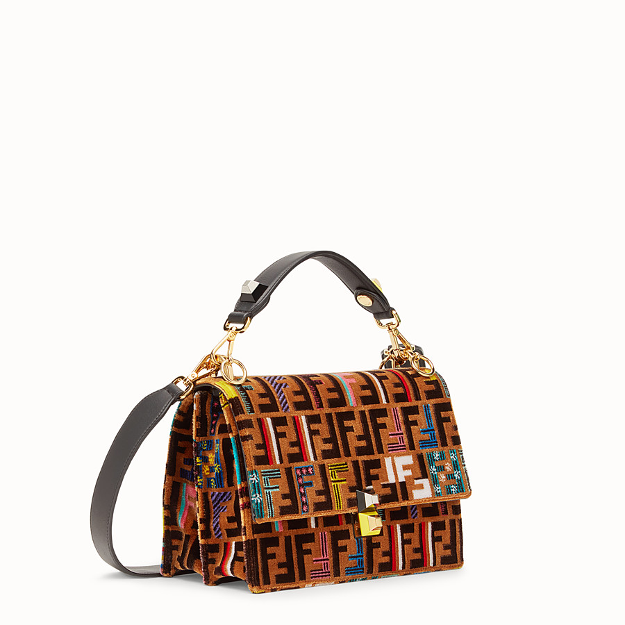 FENDI KAN I - Brown leather and silk bag - view 2 detail