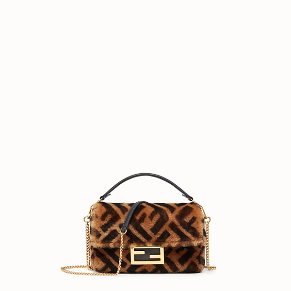FENDI MINI BAGUETTE - Brown sheepskin bag - view 1 small thumbnail