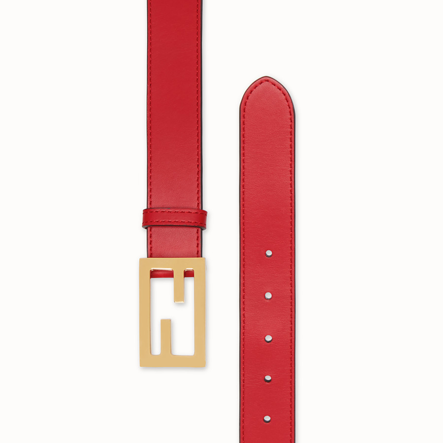 FENDI BELT - Red leather belt - view 2 detail
