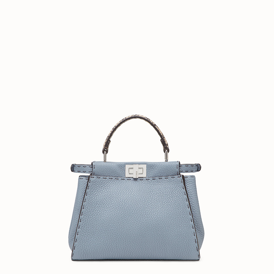 FENDI PEEKABOO MINI - Pale blue leather bag with exotic details - view 3 detail