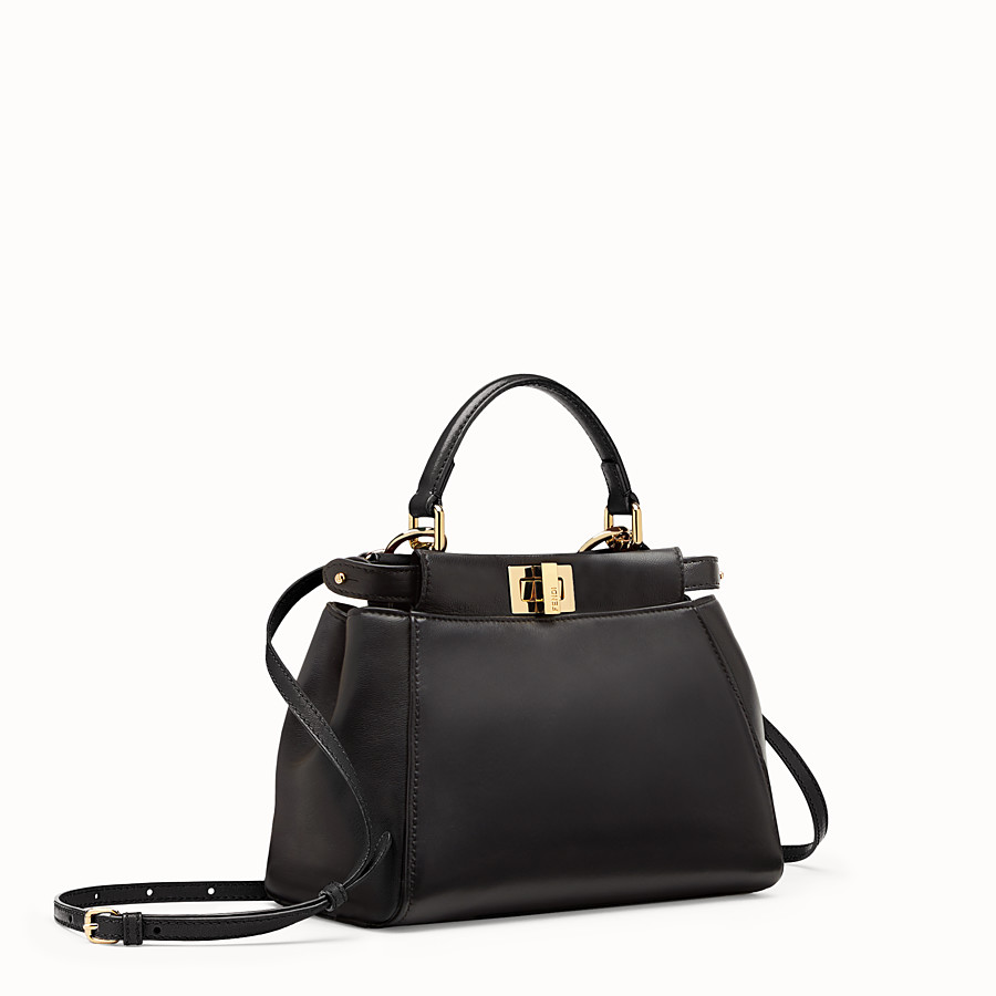 FENDI PEEKABOO MINI - Black nappa handbag - view 3 detail