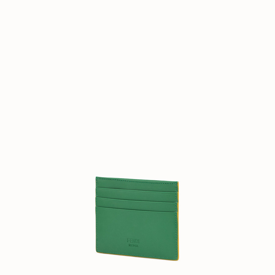 FENDI CARD HOLDER - Three-slot card holder in green leather - view 2 detail