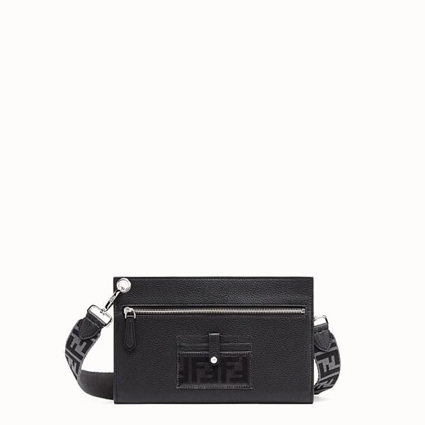 FENDI FLAT POUCH - Black leather bag - view 1 small thumbnail