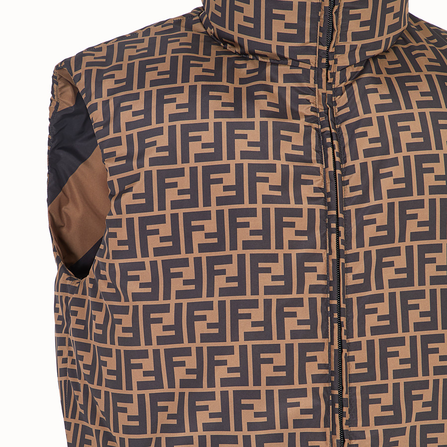FENDI GILET - Brown nylon gilet - view 3 detail