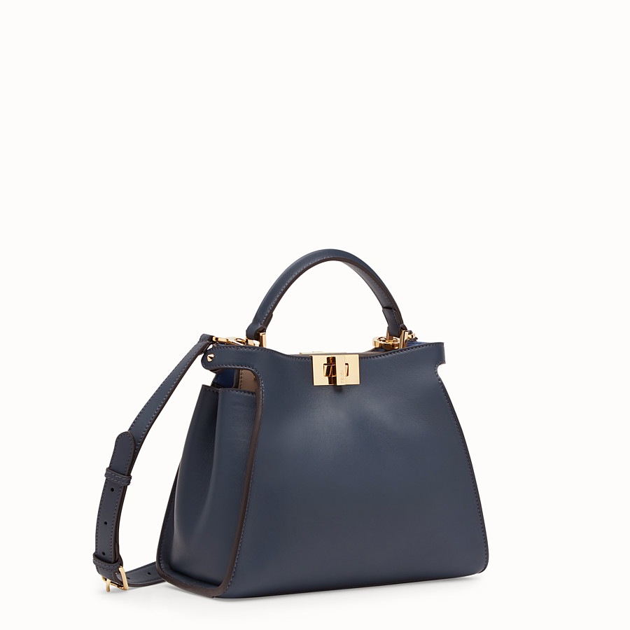 FENDI PEEKABOO ESSENTIALLY - Blue leather bag - view 2 detail