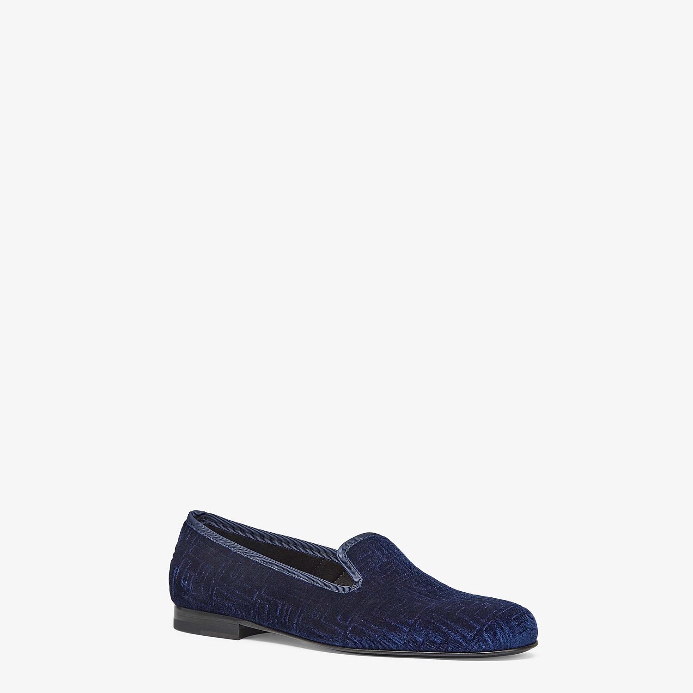 FENDI SLIPPERS - Blue velvet slippers - view 2 detail