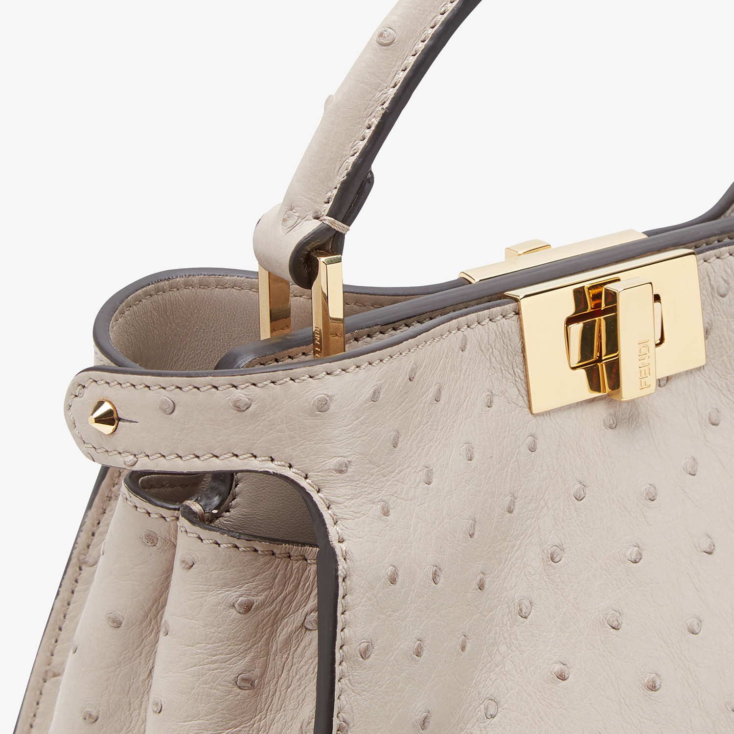 FENDI PEEKABOO ICONIC ESSENTIALLY - Gray ostrich leather bag - view 6 detail