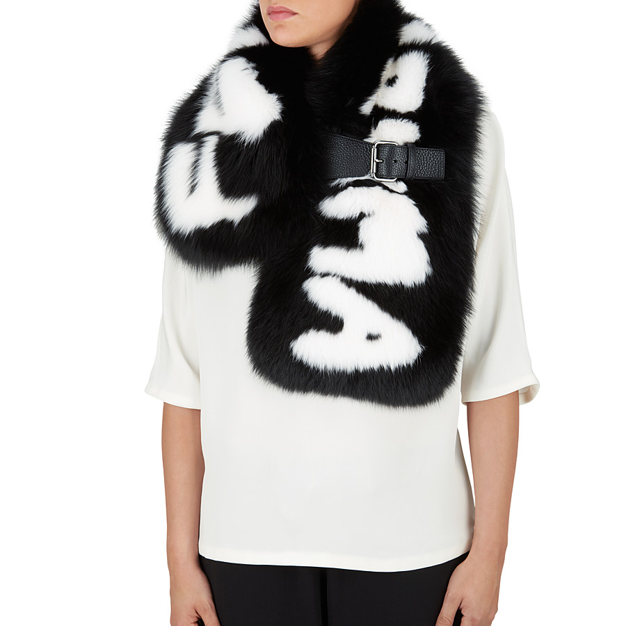 FENDI FENDI ROMA COLLAR - in black fur with white inlay - view 3 detail