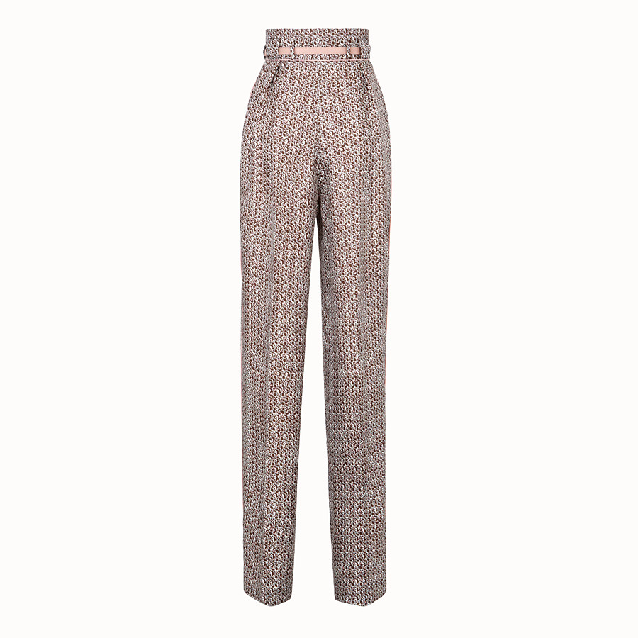 FENDI TROUSERS - Brown and pink silk trousers - view 2 detail