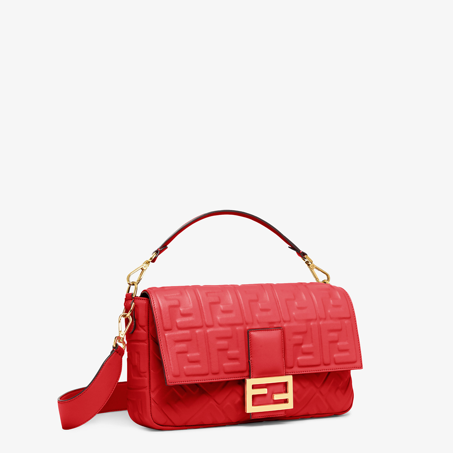 FENDI BAGUETTE LARGE - Red leather bag - view 3 detail