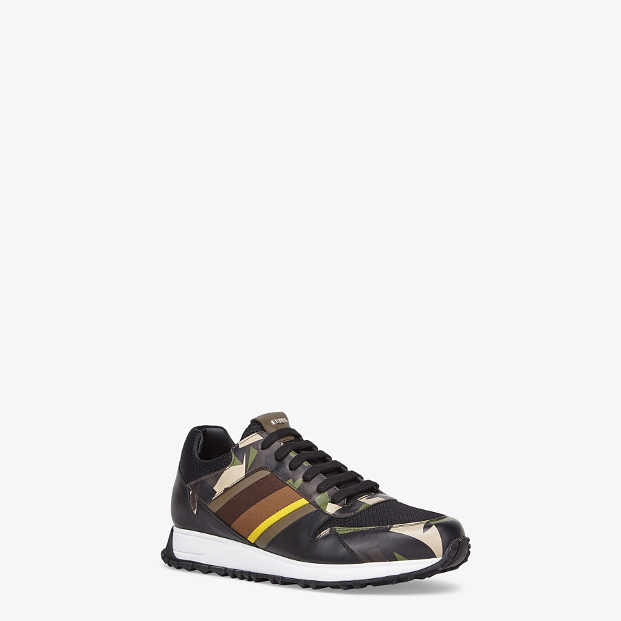 FENDI SNEAKERS - Multicolor leather low-tops - view 2 detail