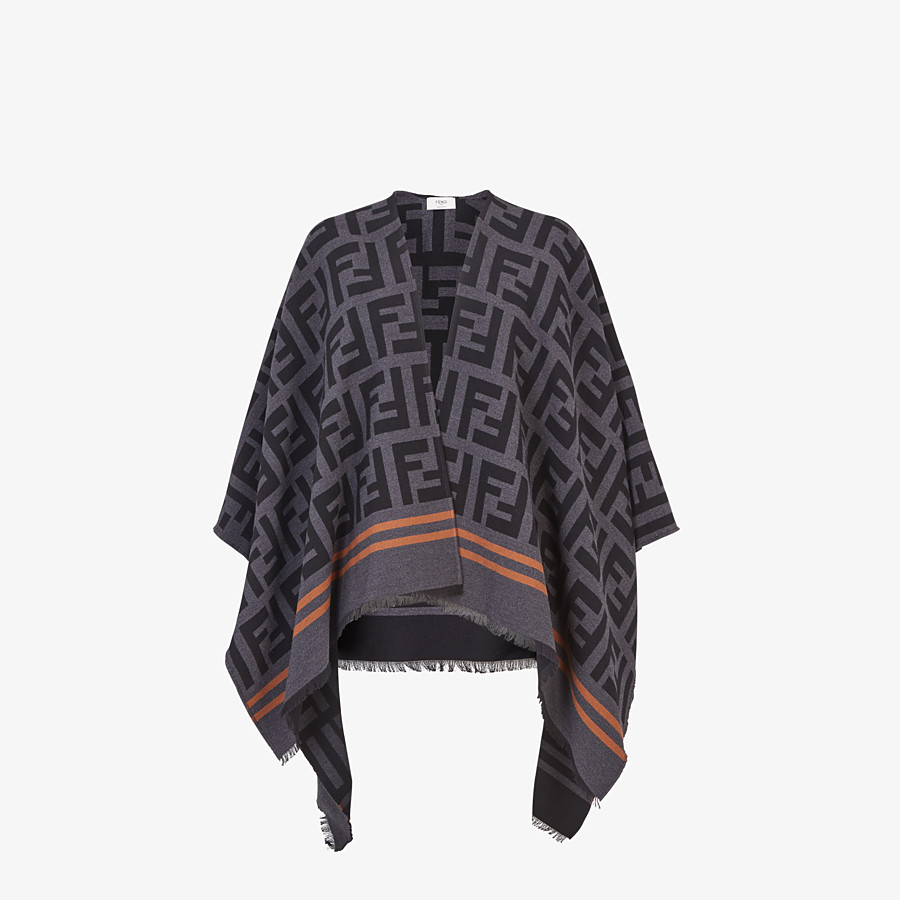 FENDI FF PONCHO - Poncho in black wool and silk - view 1 detail